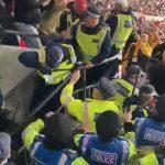 Momente incredibile la meciul Anglia-Ungaria. Polițiștii englezi au luat bătaie de la suporterii maghiari
